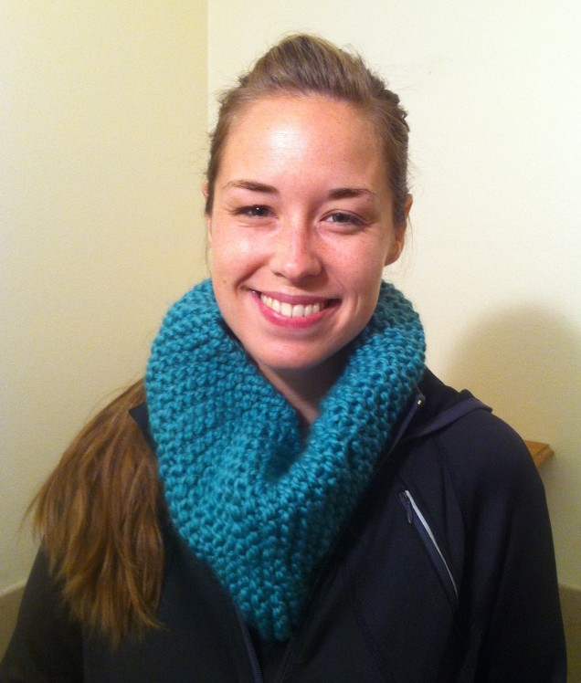 Nicole's first knitted scarf!