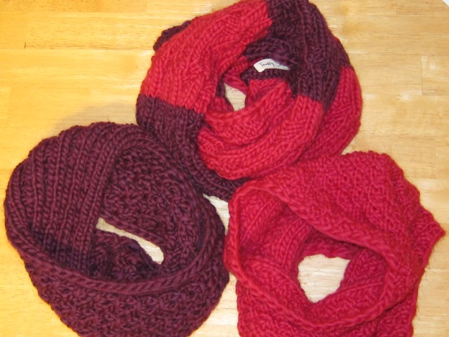 Raspberry and Wine Portland Scarves